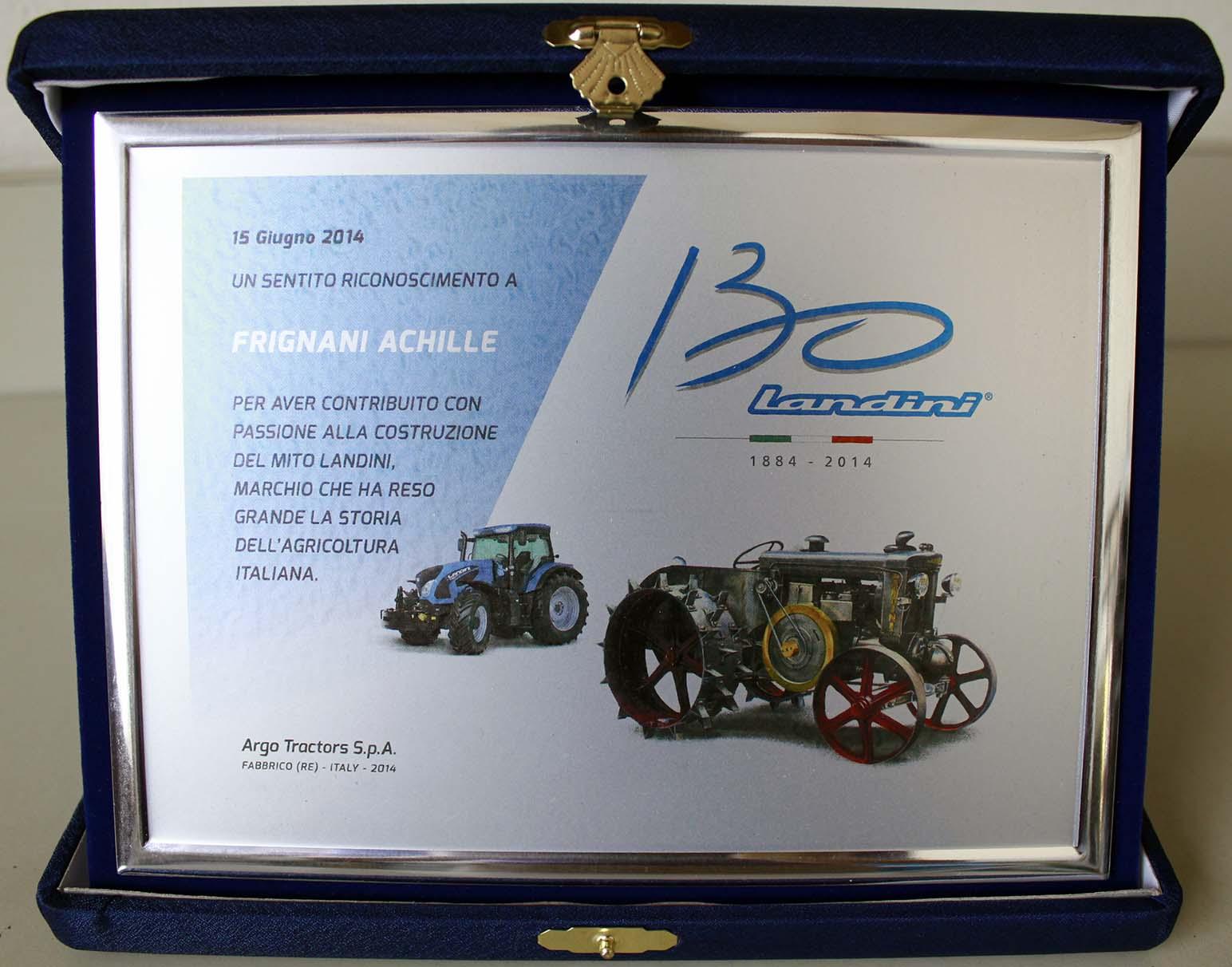 Riconoscimento Landini Argo Tractors