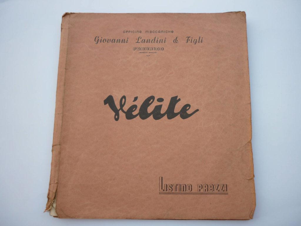 Listino prezzi ricambi Velite anno 1947